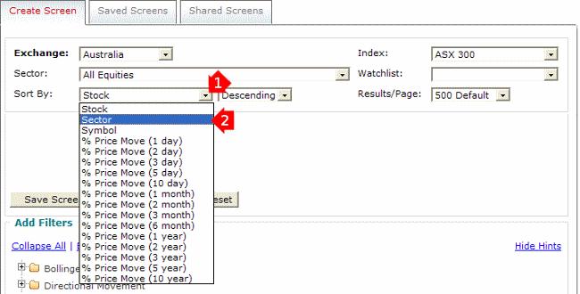 Stock Screener Input Sortby