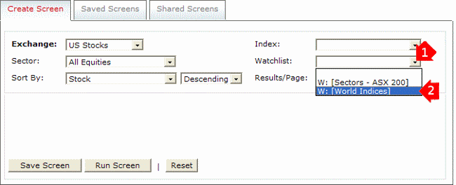 Stock Screener Input Watchlist