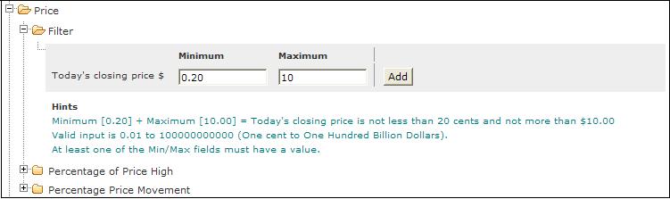price filter stock screen