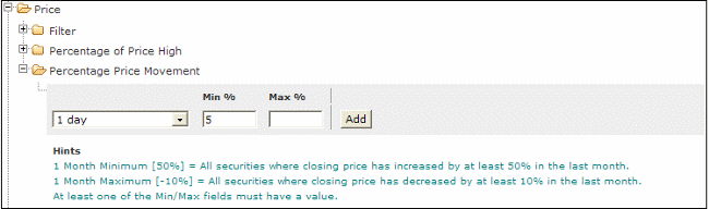 percent price move stock screen