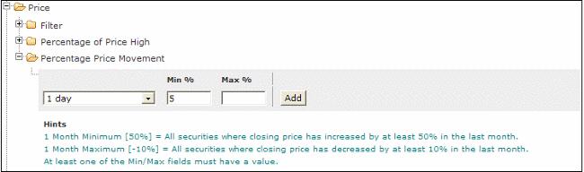 percent price move stock screen