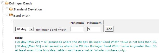 Bollinger Band Width Filter