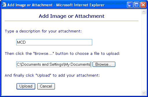 upload image or attachment