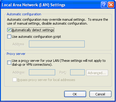 Incredible Charts: Proxy Server: LAN Settings