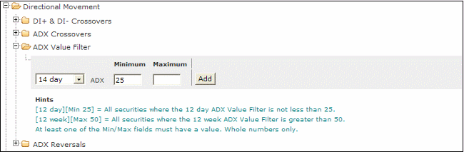 directional movement adx value filter